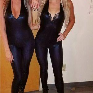 Black tight metallic jumpsuit